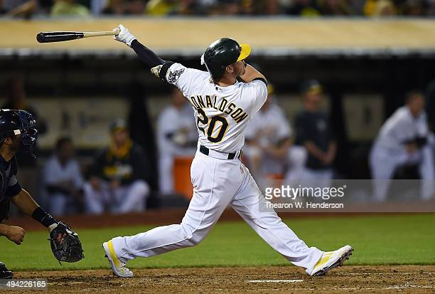 Josh Donaldson of the Oakland Athletics hits a threerun walkoff homer to defeat the Detroit Tigers 31 at Oco Coliseum on May 28 2014 in Oakland...