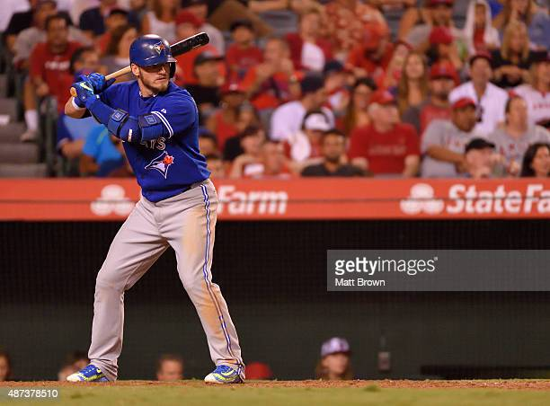 Josh Donaldson of the Toronto Blue Jays at bat during the game against the Los Angeles Angels of Anaheim at Angel Stadium of Anaheim on August 22,...