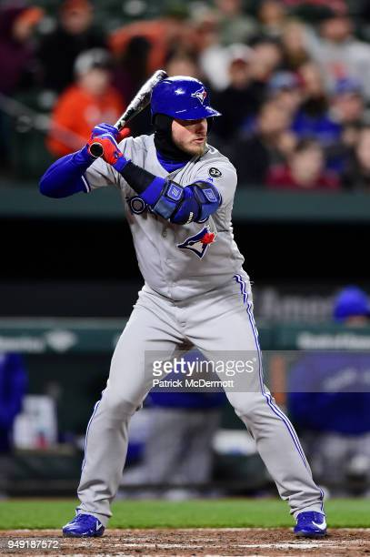Josh Donaldson of the Toronto Blue Jays bats against the Baltimore Orioles in the eighth inning at Oriole Park at Camden Yards on April 10 2018 in...