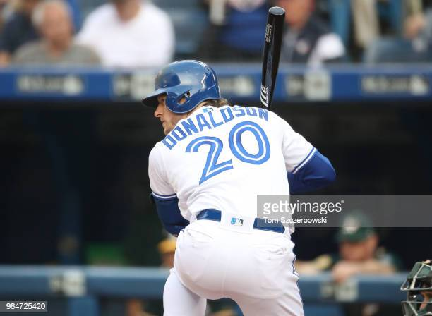 Josh Donaldson of the Toronto Blue Jays bats in the first inning during MLB game action against the Oakland Athletics at Rogers Centre on May 17 2018...