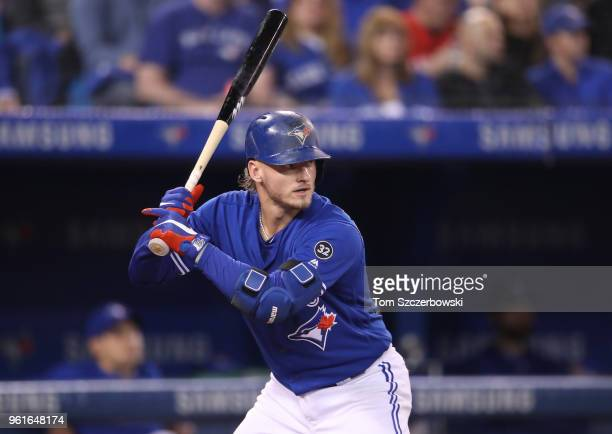 Josh Donaldson of the Toronto Blue Jays bats in the seventh inning during MLB game action against the Oakland Athletics at Rogers Centre on May 19...