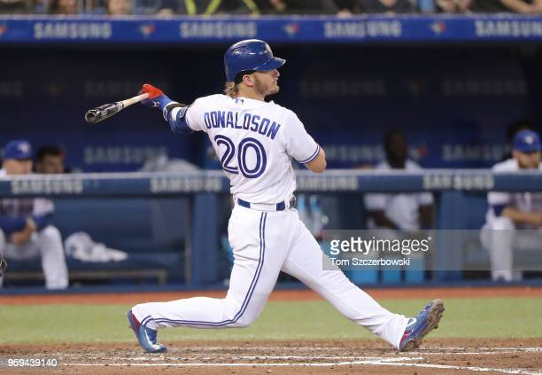 Josh Donaldson of the Toronto Blue Jays bats in the third inning during MLB game action against the Boston Red Sox at Rogers Centre on May 12 2018 in...