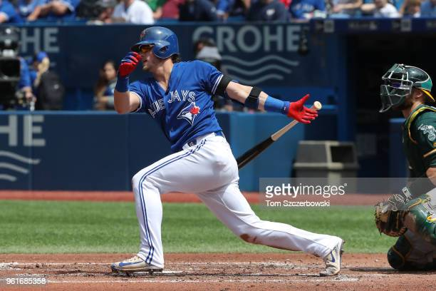 Josh Donaldson of the Toronto Blue Jays bats in the third inning during MLB game action against the Oakland Athletics at Rogers Centre on May 20 2018...