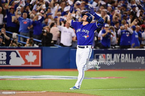 Josh Donaldson of the Toronto Blue Jays celebrates after hitting a two-run home run in the third inning against the Kansas City Royals during game...