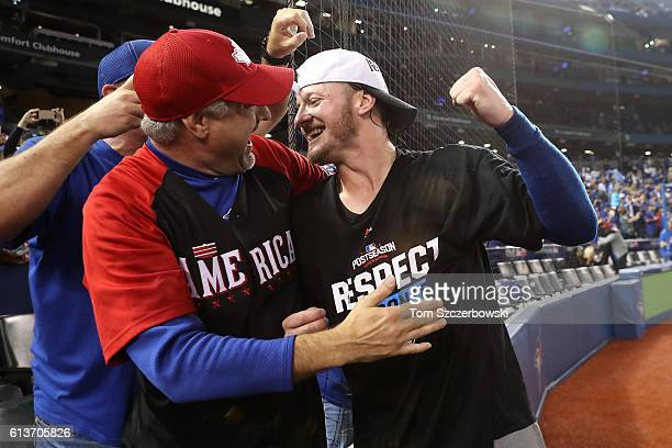 Josh Donaldson of the Toronto Blue Jays celebrates with fans after the Toronto Blue Jays defeated the Texas Rangers 76 for game three of the American...