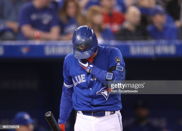Josh Donaldson of the Toronto Blue Jays during his at bat in the seventh inning during MLB game action against the Oakland Athletics at Rogers Centre...