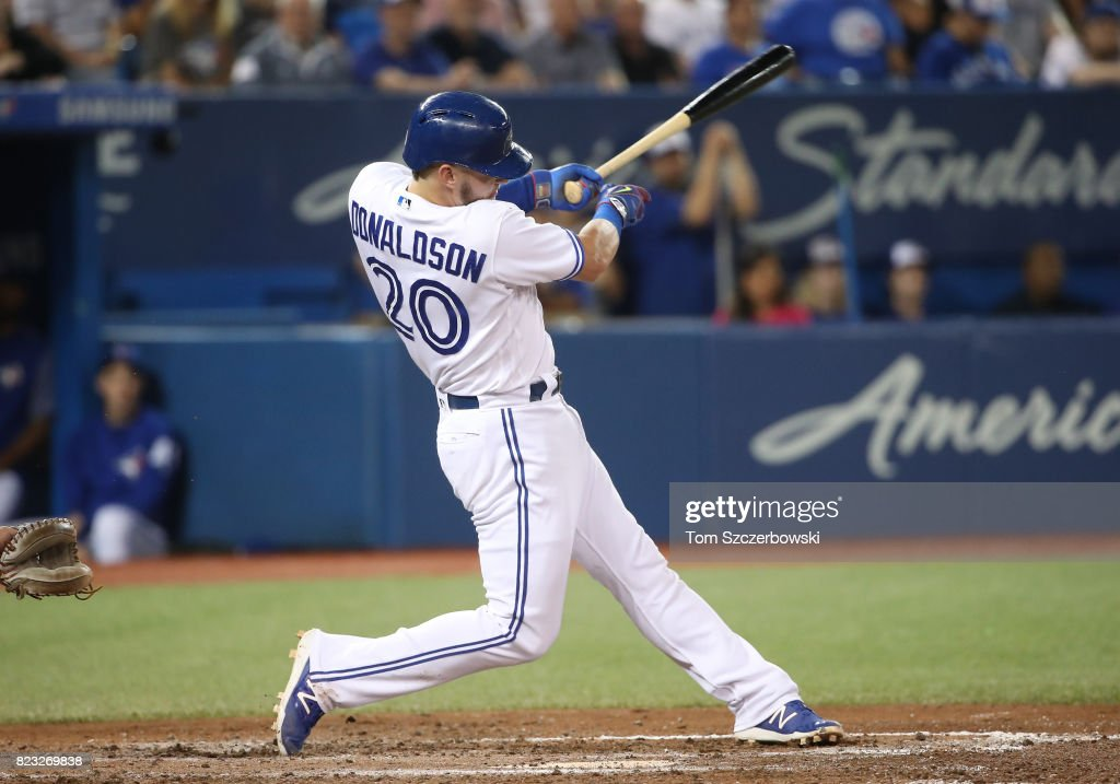 Josh Donaldson #20 of the Toronto Blue Jays hits a double in the sixth inning during MLB game action against the Oakland Athletics at Rogers Centre on July 26, 2017 in Toronto, Canada.