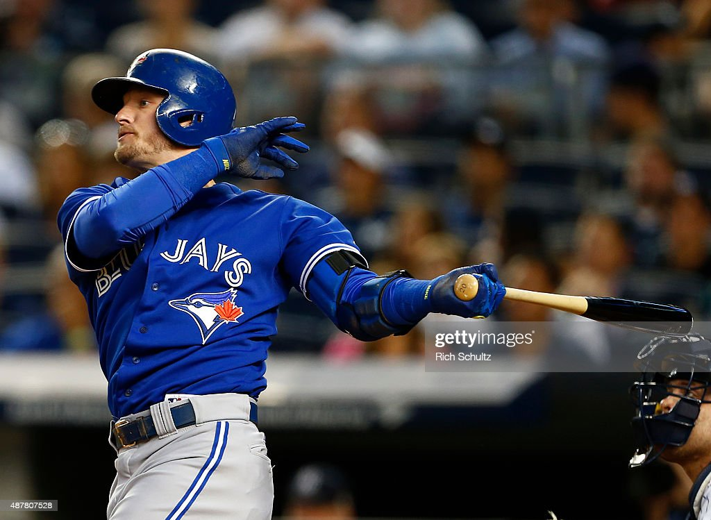 Josh Donaldson #20 of the Toronto Blue Jays hits a two run home run against the New York Yankees during the first inning of a MLB baseball game at Yankee Stadium on September 11, 2015 in the Bronx borough of New York City.