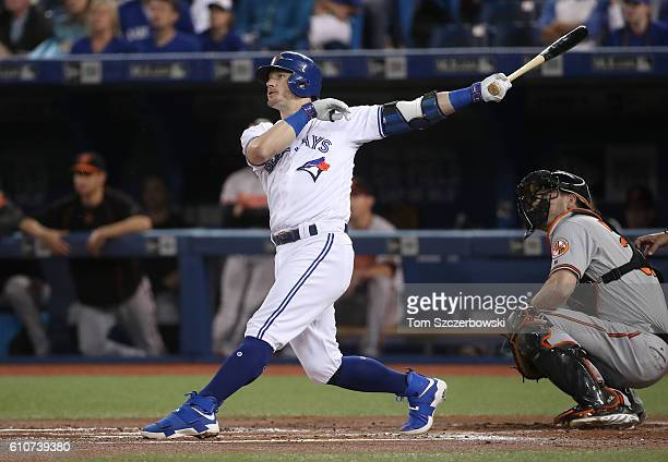 Josh Donaldson of the Toronto Blue Jays hits a tworun home run in the first inning during MLB game action against the Baltimore Orioles on September...