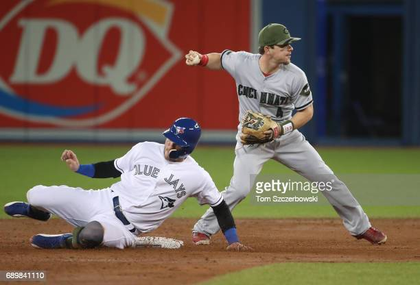 Josh Donaldson of the Toronto Blue Jays is forced out at second base in the first inning during MLB game action but Scooter Gennett of the Cincinnati...