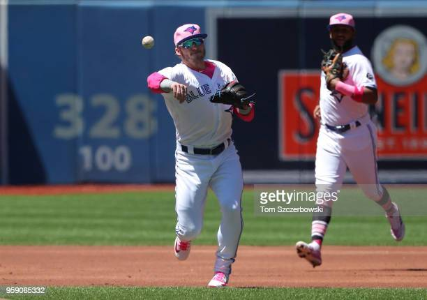 Josh Donaldson of the Toronto Blue Jays makes the play and throws out the baserunner as Richard Urena watches in the first inning during MLB game...