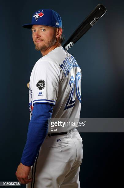 Josh Donaldson of the Toronto Blue Jays poses for a portrait on February 22 2018 at Dunedin Stadium in Dunedin Florida