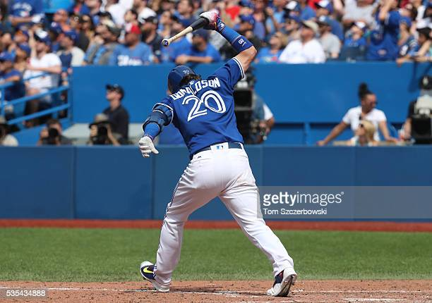 Josh Donaldson of the Toronto Blue Jays reacts as he flies out to end the seventh inning during MLB game action against the Boston Red Sox on May 29...