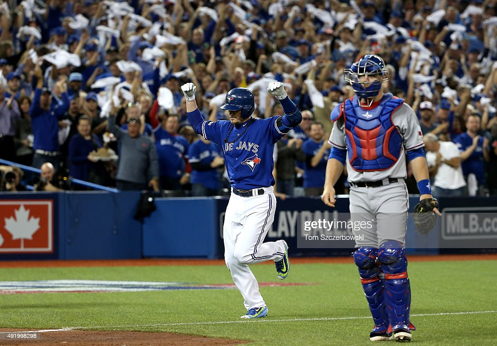 Josh Donaldson #20 of the Toronto Blue Jays rounds the bases after hitting a home run in the bottom of the first inning against the Texas Rangers during game two of the American League Division Series at Rogers Centre on October 9, 2015 in Toronto, Canada.