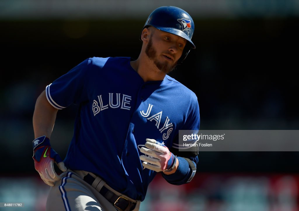 Josh Donaldson #20 of the Toronto Blue Jays rounds the bases after hitting a solo home run against the Minnesota Twins during the second inning of the game on September 17, 2017 at Target Field in Minneapolis, Minnesota.