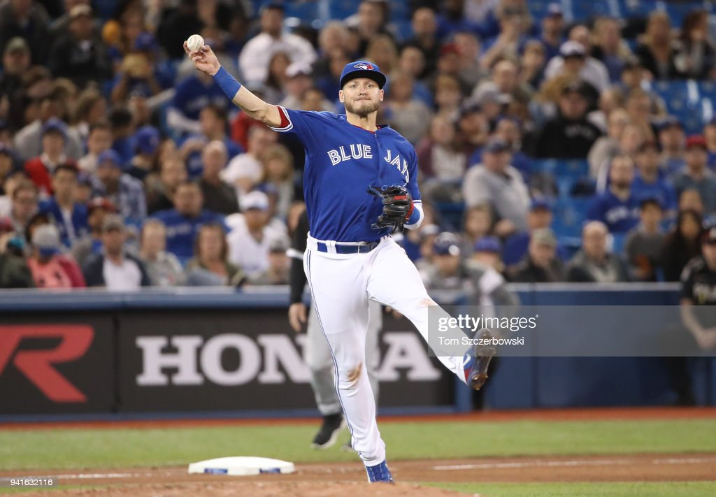 Josh Donaldson #20 of the Toronto Blue Jays throws out the baserunner in the seventh inning during MLB game action against the Chicago White Sox at Rogers Centre on April 3, 2018 in Toronto, Canada.