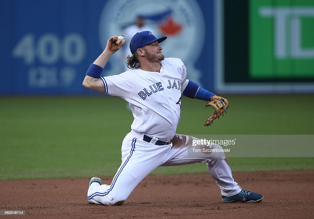 Josh Donaldson #20 of the Toronto Blue Jays throws out the baserunner after making the play at third base in the first inning during MLB game action against the San Diego Padres on July 26, 2016 at Rogers Centre in Toronto, Ontario, Canada.