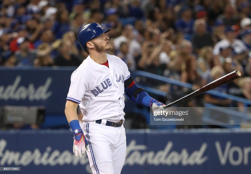 Josh Donaldson #20 of the Toronto Blue Jays watches his three-run home run in the fifth inning during MLB game action against the Tampa Bay Rays at Rogers Centre on August 15, 2017 in Toronto, Canada.