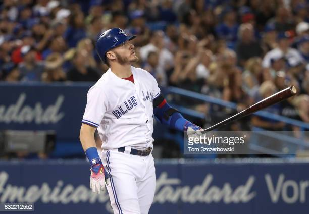 Josh Donaldson of the Toronto Blue Jays watches his threerun home run in the fifth inning during MLB game action against the Tampa Bay Rays at Rogers...