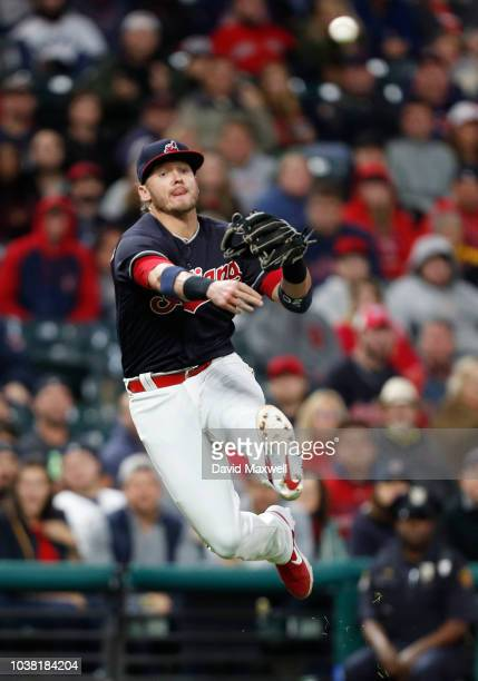Josh Donaldson the Cleveland Indians throws out Steve Pearce of the Boston Red Sox in the tenth inning at Progressive Field on September 22 2018 in...