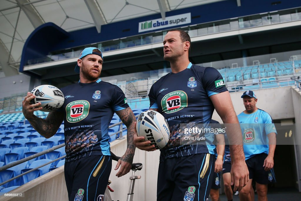 Josh Dugan and Boyd Cordner walk out for the New South Wales Blues State of Origin captain's run at Cbus Super Stadium on May 30, 2017 in Gold Coast, Australia.