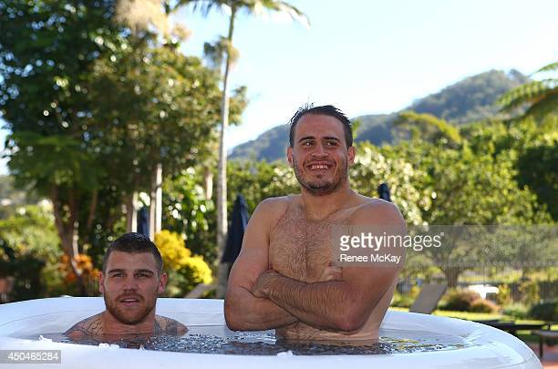 Josh Dugan and Josh Reynolds take an ice bath during a New South Wales Blues State of Origin training session at Novotel Coffs Harbour on June 12...
