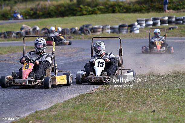 Josh Dugan attempts to get in front of Greg Bird during a New South Wales Blues State of Origin karting session on June 13 2014 in Coffs Harbour...