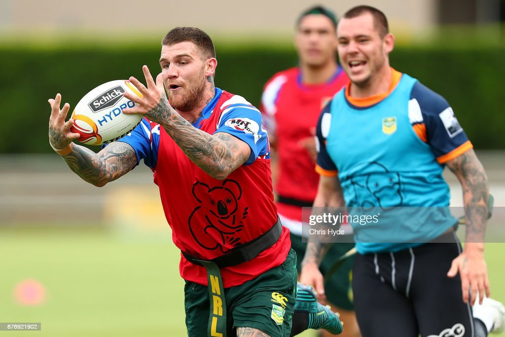 Josh Dugan catches the ball during an Australian Kangaroos Rugby League World Cup training session at Langlands Park on November 21, 2017 in Brisbane, Australia.