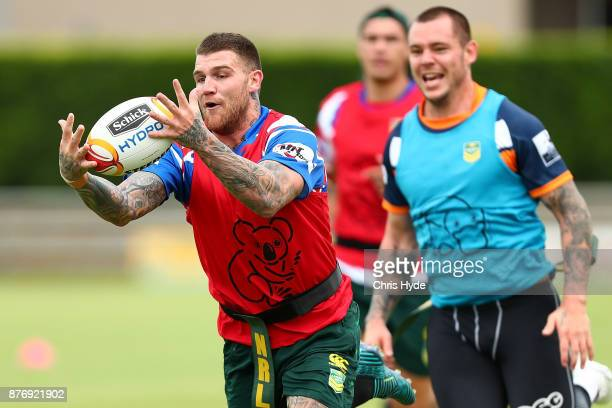 Josh Dugan catches the ball during an Australian Kangaroos Rugby League World Cup training session at Langlands Park on November 21 2017 in Brisbane...