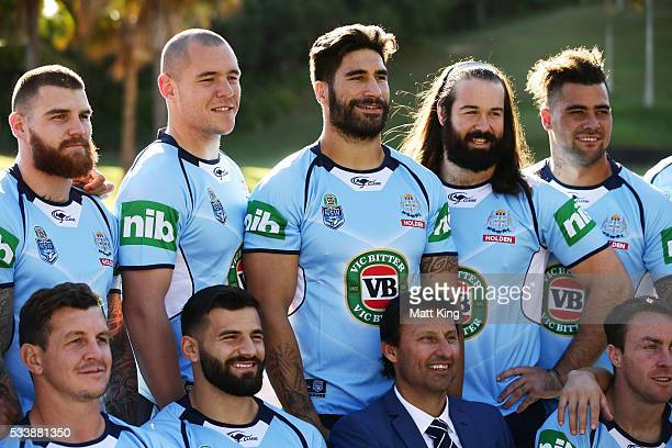Josh Dugan David Klemmer James Tamou Aaron Woods and Andrew Fifita of the Blues pose during a New South Wales Blues NRL State of Origin team photo...
