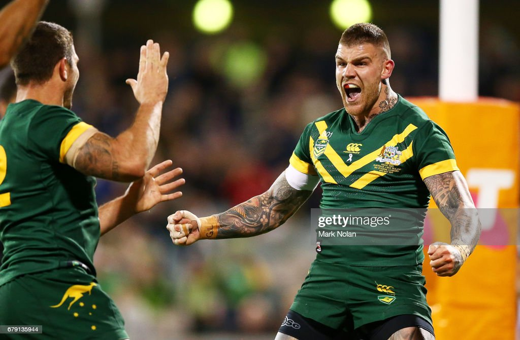 Josh Dugan of Australia celebrates scoring a try during the ANZAC Test match between the Australian Kangaroos and the New Zealand Kiwis at GIO Stadium on May 5, 2017 in Canberra, Australia.