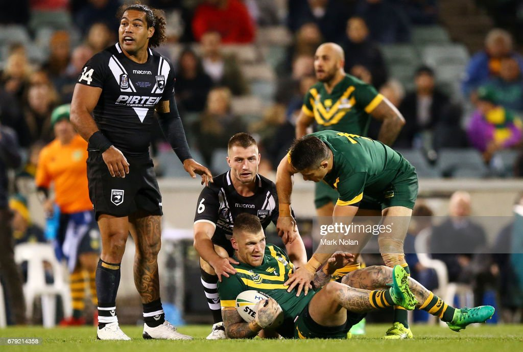Josh Dugan of Australia fractured his check bone in this tackle during the ANZAC Test match between the Australian Kangaroos and the New Zealand Kiwis at GIO Stadium on May 5, 2017 in Canberra, Australia.