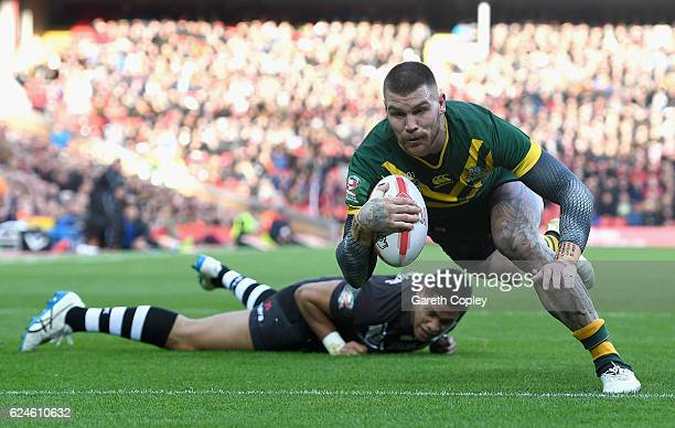 Josh Dugan of Australia scores his team's second try during the Four Nations Final between New Zealand and Australia at Anfield on November 20 2016...