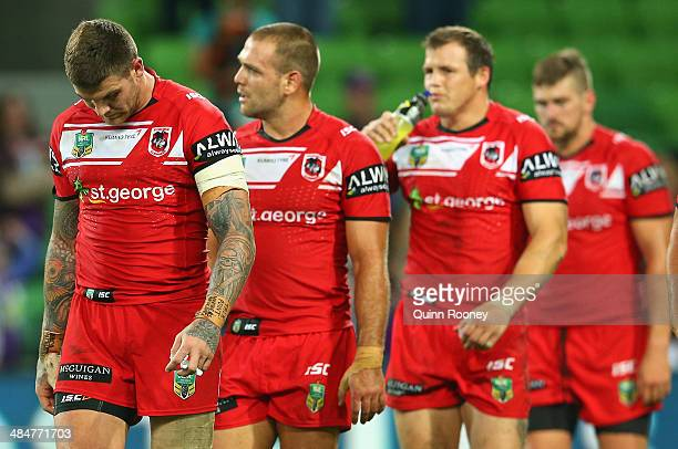 Josh Dugan of the Dragons and his team mates look dejcted after losing the round 6 NRL match between the Melbourne Storm and the St George Illawarra...
