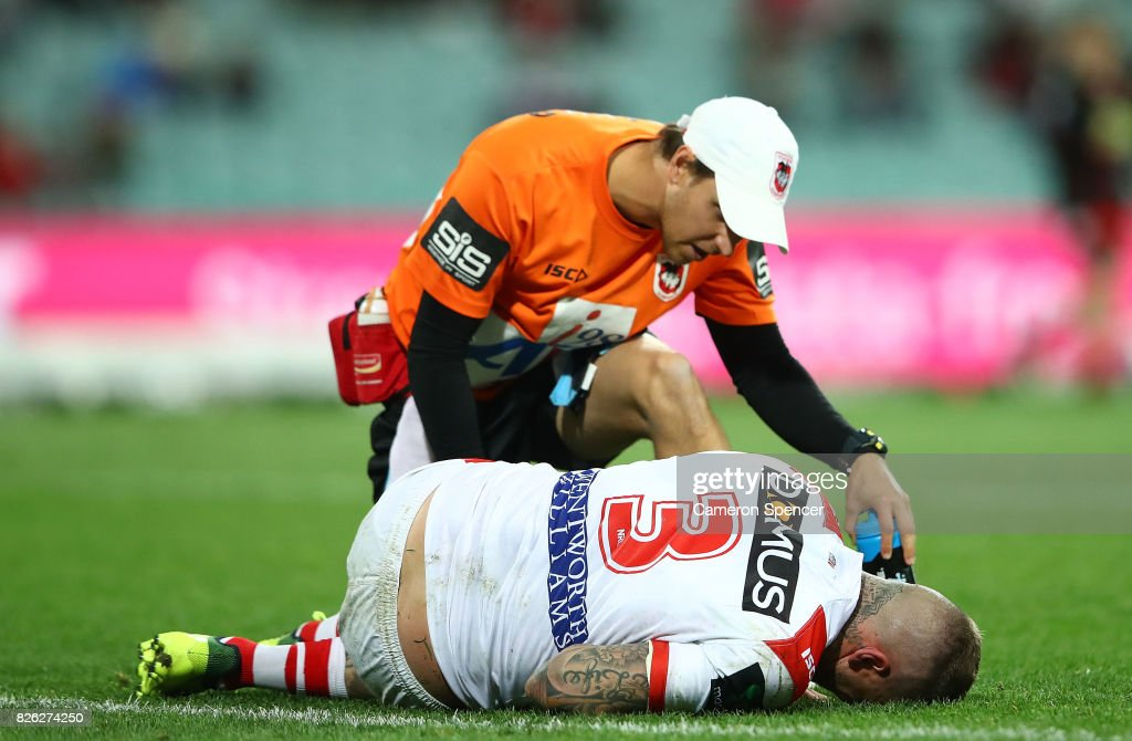 Josh Dugan of the Dragons appears injured during the round 22 NRL match between the St George Illawarra Dragons and the South Sydney Rabbitohs at Sydney Cricket Ground on August 4, 2017 in Sydney, Australia.