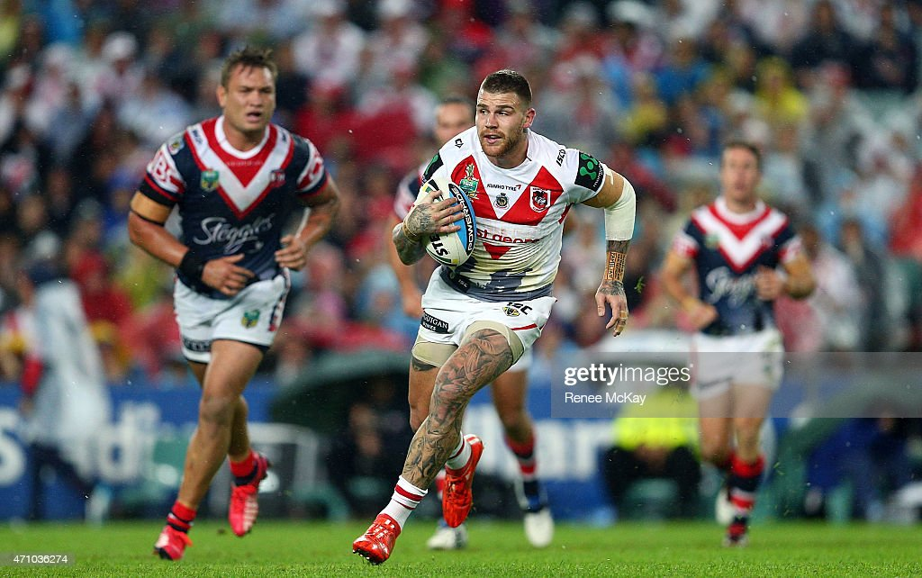 Josh Dugan of the Dragons in action during the round eight NRL match between the Sydney Roosters and the St George Illawarra Dragons at Allianz Stadium on April 25, 2015 in Sydney, Australia.