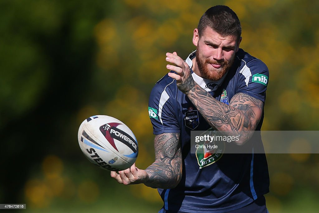 Josh Dugan passes during the New South Wales Blues team training session at the Novotel on June 10, 2015 in Coffs Harbour, Australia.
