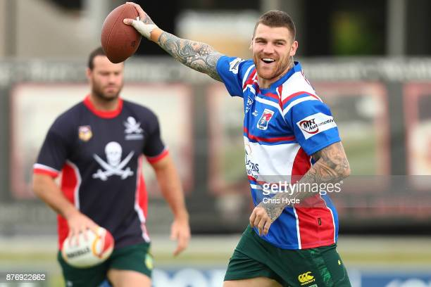 Josh Dugan runs the ball during an Australian Kangaroos Rugby League World Cup training session at Langlands Park on November 21 2017 in Brisbane...
