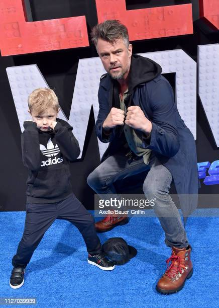 Josh Duhamel and son Axl Duhamel attend the premiere of Warner Bros Pictures' 'The Lego Movie 2 The Second Part' at Regency Village Theatre on...