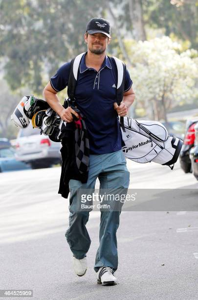 Josh Duhamel is seen as he goes golfing on January 22 2014 in Los Angeles California