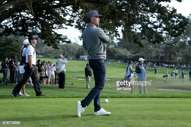 Josh Duhamel plays his shot from the 16th tee during Round Three of the ATT Pebble Beach ProAm at Pebble Beach Golf Links on February 10 2018 in...