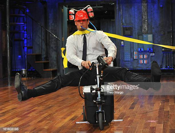 Josh Duhamel takes part in Cooler Races during a taping of Late Night With Jimmy Fallon at Rockefeller Center on February 12 2013 in New York City