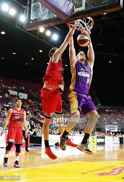 Josh Duinker of the Kings slam dunks during the round 11 NBL match between the Sydney Kings and the Perth Wildcats at Sydney Entertainment Centre on...