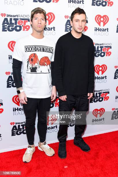 Josh Dun and Tyler Joseph of Twenty One Pilots attends iHeartRadio ALTer Ego at The Forum on January 19 2019 in Inglewood California