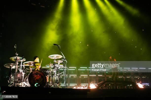 Josh Dun and Tyler Joseph of Twenty One Pilots perform at 3Arena Dublin on March 01 2019 in Dublin Ireland