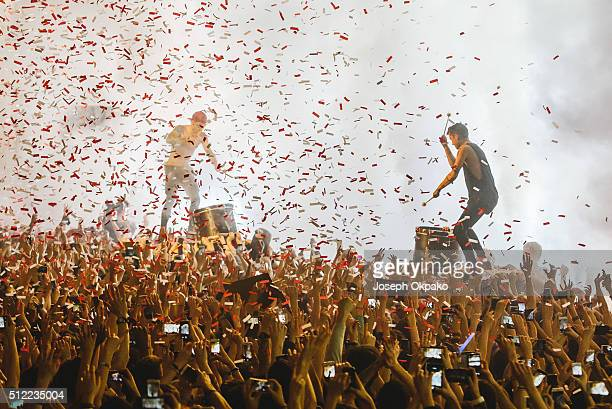 Josh Dun and Tyler Joseph of Twenty One Pilots perform at Brixton Academy on February 24 2016 in London England
