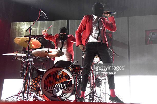 Josh Dun and Tyler Joseph of Twenty One Pilots perform during the band's 'Emotional Roadshow' tour at WaMu Theater on July 18 2016 in Seattle...