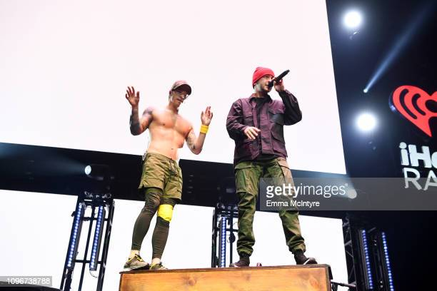 USE>> Josh Dun and Tyler Joseph of Twenty One Pilots perform on stage during 2019 iHeartRadio ALTer Ego at The Forum on January 19 2019 in Inglewood...