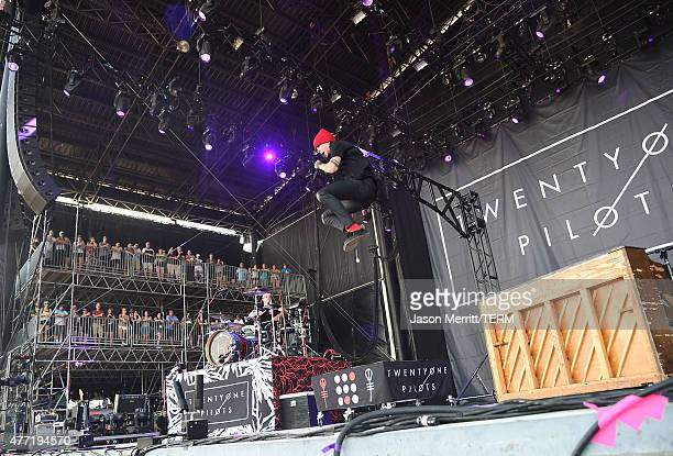 Josh Dun and Tyler Joseph of Twenty One Pilots perform on stage during the 2015 Bonnaroo Music Arts Festival Day 4 on June 14 2015 in Manchester...