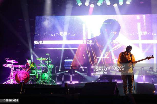 Josh Dun and Tyler Joseph of Twenty One Pilots perform onstage during Day 1 of 2019 Boston Calling Music Festival on May 24 2019 in Boston...